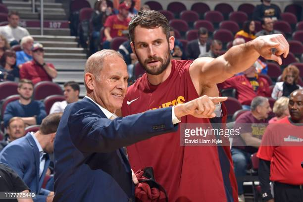 Head Coach John Beilein, and Kevin Love of the Cleveland Cavaliers looks on before a pre-season game against the Boston Celtics on October 15, 2019...