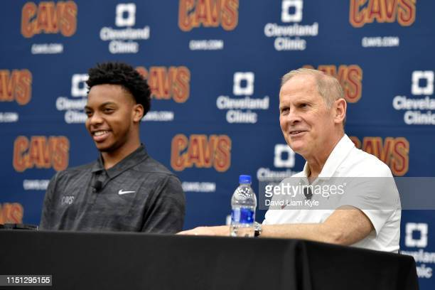 Head Coach John Beilein of the Cleveland Cavaliers introduces Darius Garland and Dylan Windler as the 2019 NBA Cleveland Cavaliers Draftees during a...