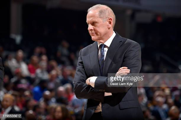 Head Coach John Beilein of the Cleveland Cavaliers looks on during a game against the Washington Wizards on January 23, 2020 at Rocket Mortgage...