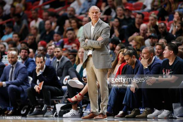 Head coach John Beilein of the Cleveland Cavaliers reacts against the Miami Heat during the first half at American Airlines Arena on November 20,...