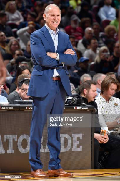 Head Coach John Beilein of the Cleveland Cavaliers smiles during the game against the Boston Celtics on November 5, 2019 at Quicken Loans Arena in...