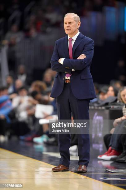 Head coach John Beilein of the Cleveland Cavaliers watches his players during the first half against the Oklahoma City Thunder at Rocket Mortgage...