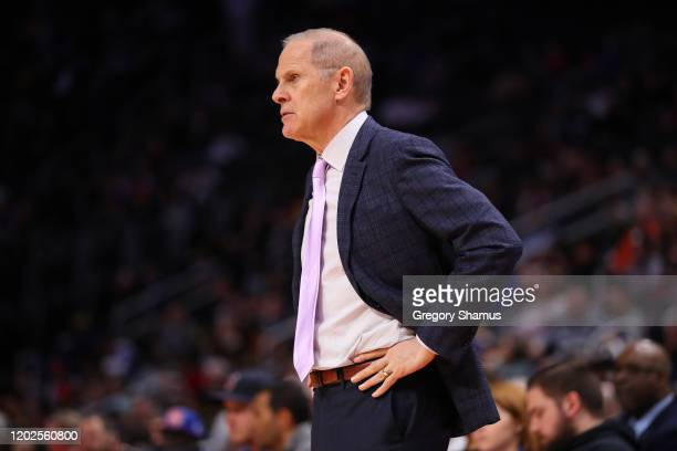 Head coach John Beilein of the Cleveland Cavaliers while playing the Detroit Pistons at Little Caesars Arena on January 27, 2020 in Detroit,...