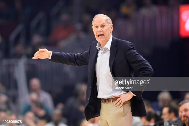 Head coach John Beilein of the Cleveland Cavaliers yells to his players during the first half against the Toronto Raptors at Rocket Mortgage...