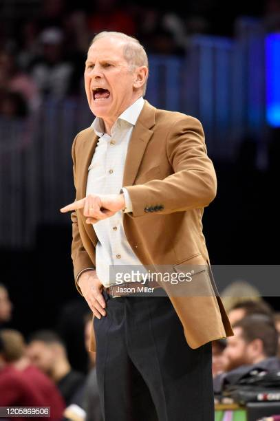 Head coach John Beilein of the Cleveland Cavaliers yells to his players during the second half against the Atlanta Hawks at Rocket Mortgage...