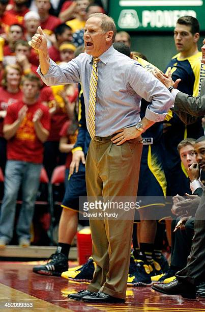 Head coach John Beilein of the Michigan Wolverines disputes a call in the first half of play against the Iowa State Cyclones at Hilton Coliseum on...