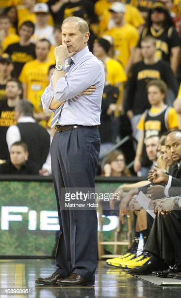 Head coach John Beilein of the Michigan Wolverines during the second half against the Iowa Hawkeyes on February 8 2014 at CarverHawkeye Arena in Iowa...