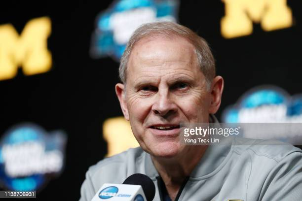 Head coach John Beilein of the Michigan Wolverines fields questions from the media during a press conference ahead of the 2019 NCAA Men's Basketball...