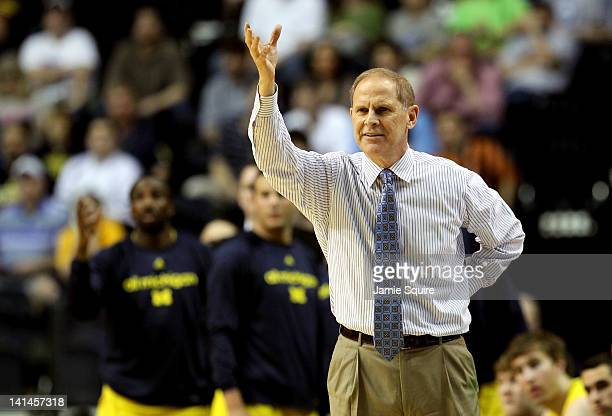 Head coach John Beilein of the Michigan Wolverines gestures to his players against the Ohio Bobcats during the second round of the 2012 NCAA Men's...
