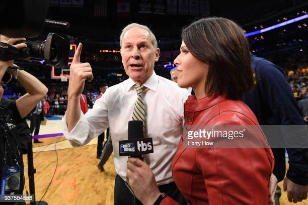 Head coach John Beilein of the Michigan Wolverines is interviewed by Dana Jacobson after defeating the Florida State Seminoles in the 2018 NCAA Men's...