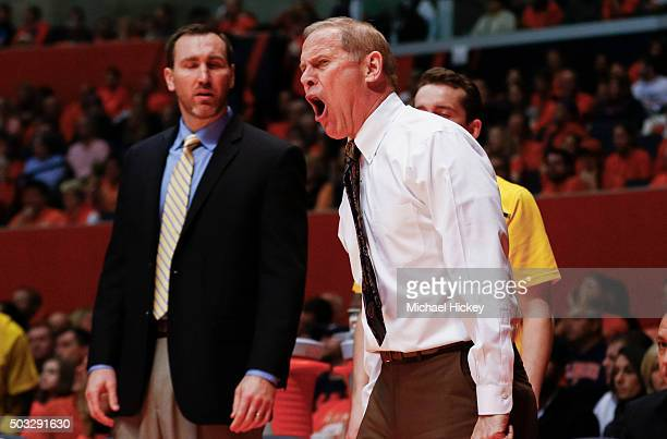 Head coach John Beilein of the Michigan Wolverines is seen during the game against the Illinois Fighting Illini at State Farm Center on December 30...