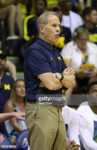 Head coach John Beilein of the Michigan Wolverines look on during the second half of the game against the Chaminade Silverswords during the Maui...