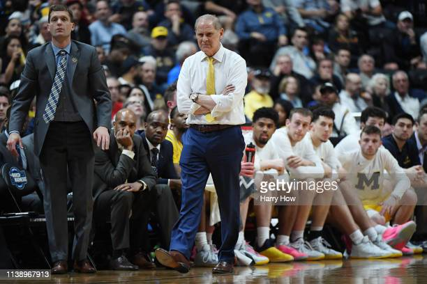 Head coach John Beilein of the Michigan Wolverines looks on during the 2019 NCAA Men's Basketball Tournament West Regional game against the Texas...