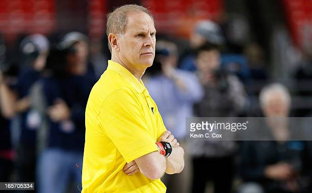 Head coach John Beilein of the Michigan Wolverines looks on during practice prior to the NCAA Men's Final Four at the Georgia Dome on April 5 2013 in...