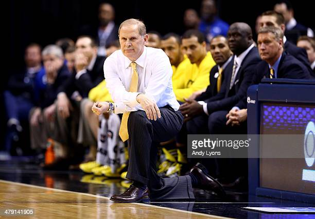 Head coach John Beilein of the Michigan Wolverines looks on during the 2014 Big Ten Men's Championship against the Michigan State Spartans at Bankers...