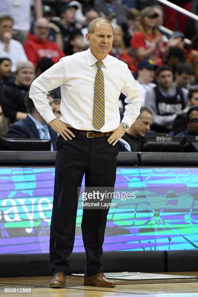 Head coach John Beilein of the Michigan Wolverines looks on during the Big Ten Men's Basketball Final against the Wisconsin Badgers at the Verizon...