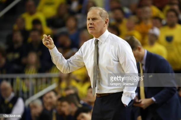 Head coach John Beilein of the Michigan Wolverines looks on while playing the Indiana Hoosiers at Crisler Arena on January 06 2019 in Ann Arbor...