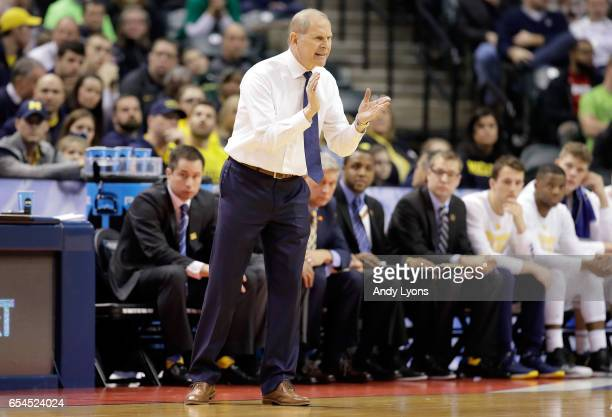 Head coach John Beilein of the Michigan Wolverines reacts against the Oklahoma State Cowboys during the first round of the 2017 NCAA Men's Basketball...