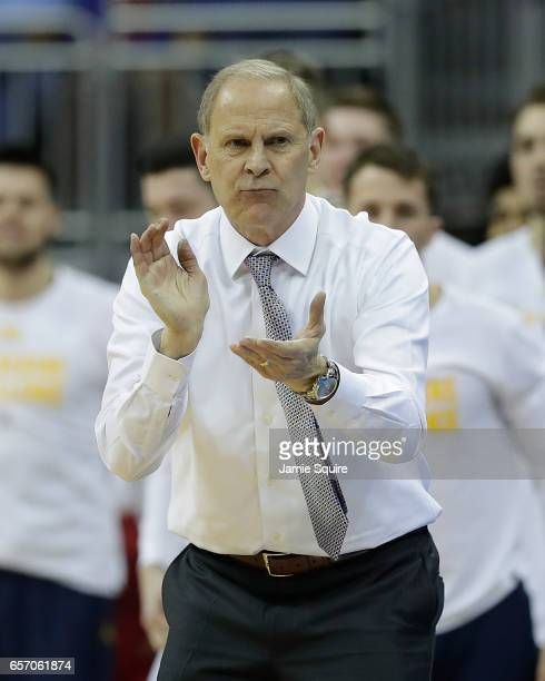 Head coach John Beilein of the Michigan Wolverines reacts against the Oregon Ducks during the 2017 NCAA Men's Basketball Tournament Midwest Regional...