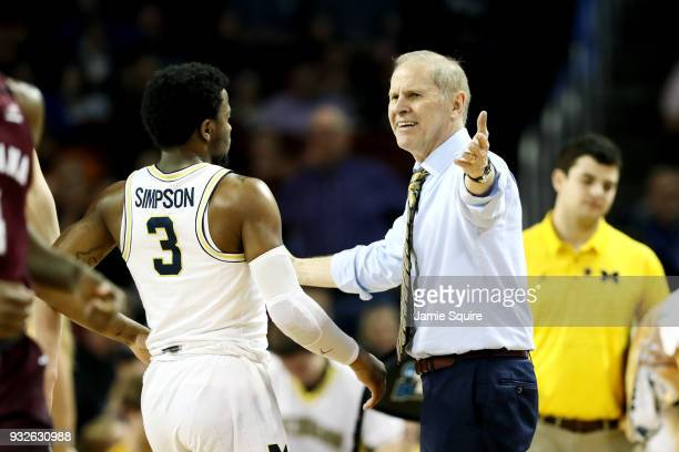 Head coach John Beilein of the Michigan Wolverines reacts against the Montana Grizzlies during the first half of the first round of the 2018 NCAA...