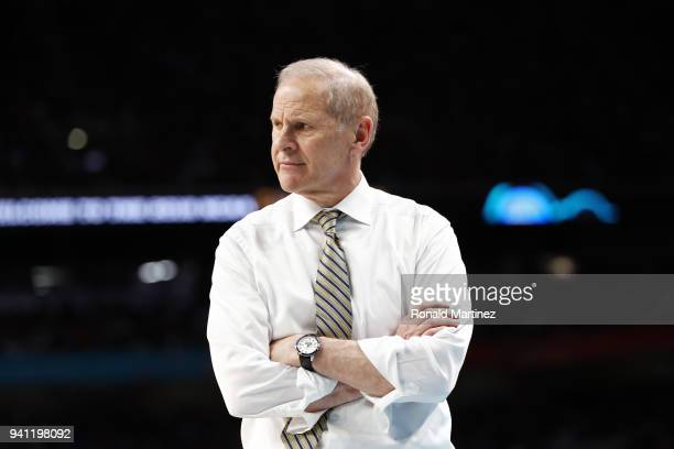 Head coach John Beilein of the Michigan Wolverines reacts against the Villanova Wildcats in the second half during the 2018 NCAA Men's Final Four...
