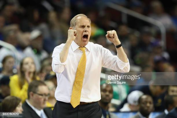 Head coach John Beilein of the Michigan Wolverines reacts as they take on the Houston Cougars in the second half during the second round of the 2018...