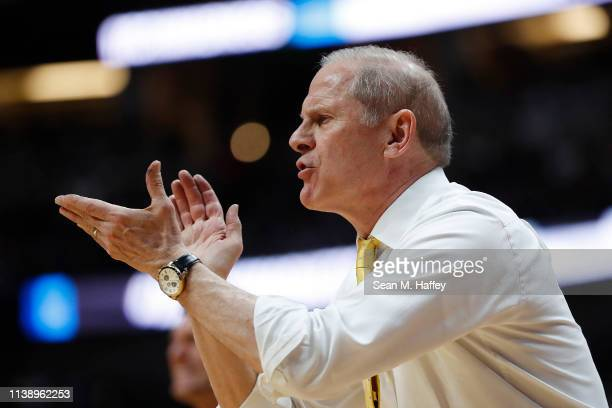 Head coach John Beilein of the Michigan Wolverines reacts during the 2019 NCAA Men's Basketball Tournament West Regional game against the Texas Tech...