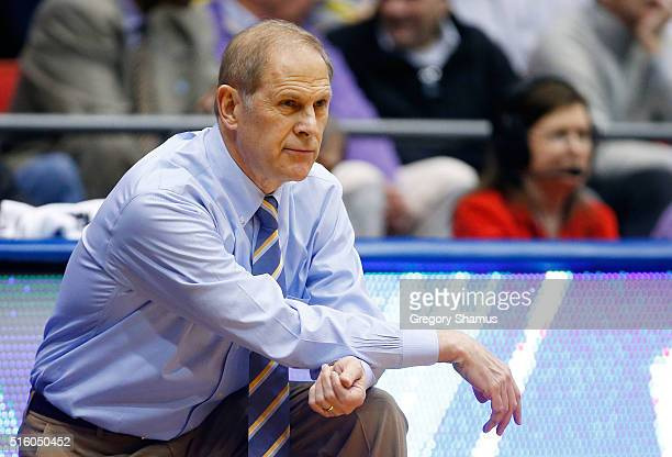 Head coach John Beilein of the Michigan Wolverines reacts in the first half against the Tulsa Golden Hurricane during the first round of the 2016...