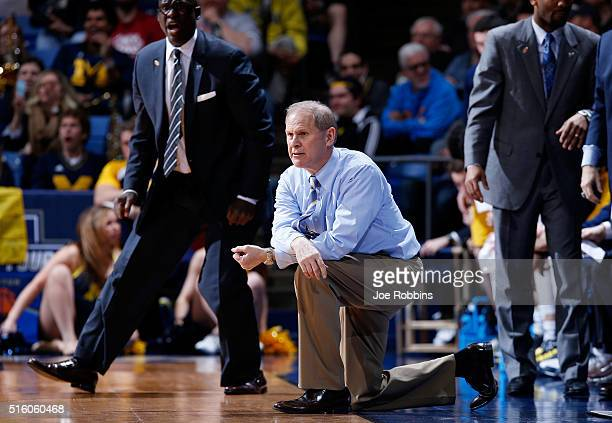 Head coach John Beilein of the Michigan Wolverines reacts in the second half against the Tulsa Golden Hurricane during the first round of the 2016...