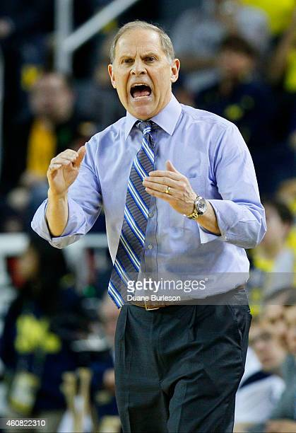 Head coach John Beilein of the Michigan Wolverines reacts to a call against Michigan during the second half of a game against the Eastern Michigan...