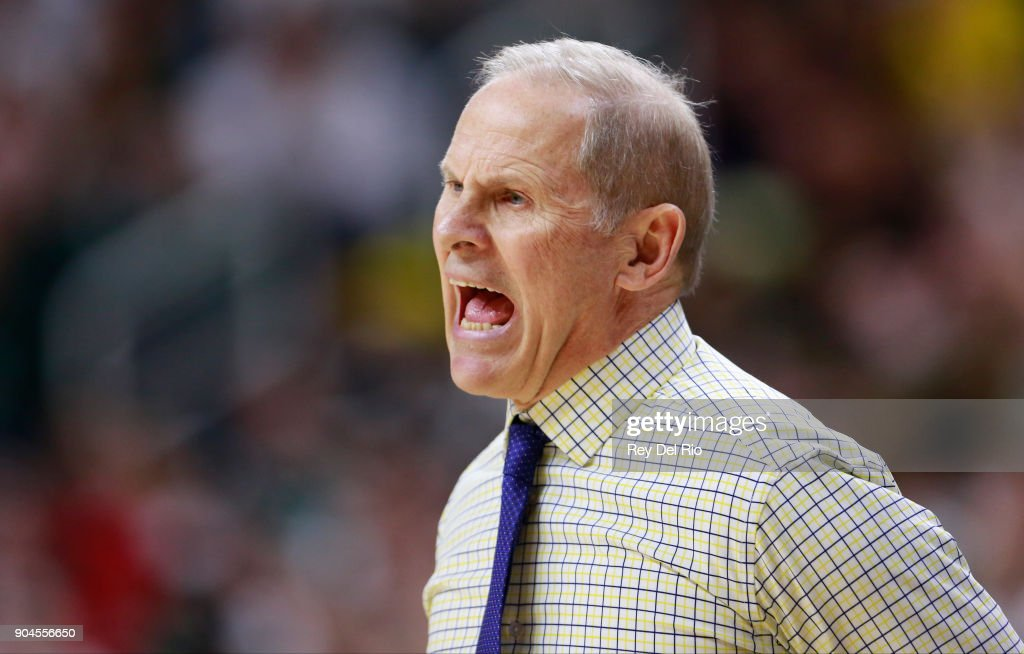 Head coach John Beilein of the Michigan Wolverines reacts to a call during the game against the Michigan State Spartans at Breslin Center on January 13, 2018 in East Lansing, Michigan.