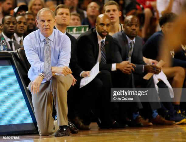 Head coach John Beilein of the Michigan Wolverines watches the action as his team plays the Texas Longhorns at the Frank Erwin Center on December 12...