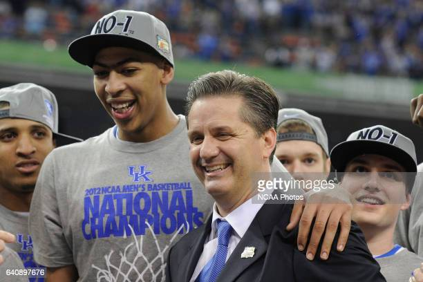 Head coach John Calipari and forward Anthony Davis from the University of Kentucky celebrate following the Championship Game of the 2012 NCAA Men's...
