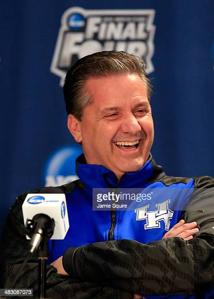 Head coach John Calipari of Kentucky talks to the media during an NCAA Men's Final Four press conference at ATT Stadium on April 6 2014 in Arlington...