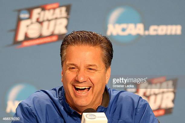 Head coach John Calipari of the Kentucky Wildcats addresses the media during a press conference before the 2015 NCAA Men's Final Four at Lucas Oil...
