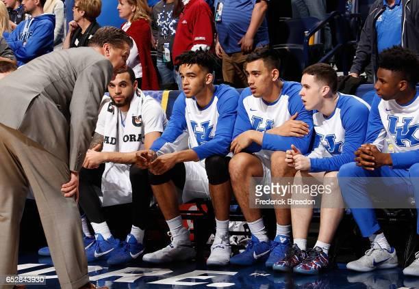 Head coach John Calipari of the Kentucky Wildcats coaches during the second half of the SEC Tournament Champion Game against the Arkansas Razorbacks...