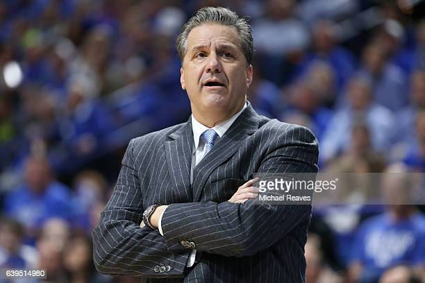Head coach John Calipari of the Kentucky Wildcats directs his team against the South Carolina Gamecocks at Rupp Arena on January 21 2017 in Lexington...