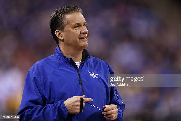 Head coach John Calipari of the Kentucky Wildcats looks on during practice for the NCAA Men's Final Four at Lucas Oil Stadium on April 3 2015 in...