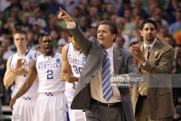 Head coach John Calipari of the Kentucky Wildcats reacts against the Princeton Tigers during the second round of the 2011 NCAA men's basketball...