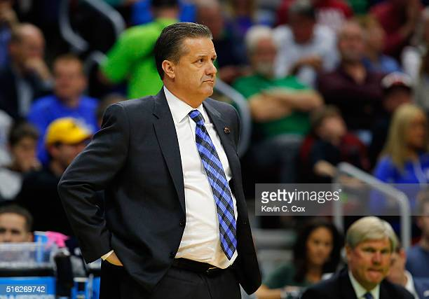 Head coach John Calipari of the Kentucky Wildcats reacts against the Stony Brook Seawolves in the first half during the first round of the 2016 NCAA...