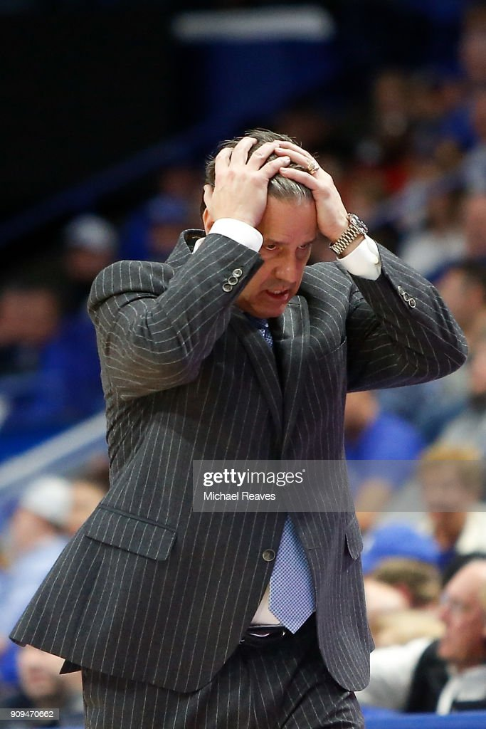 Head coach John Calipari of the Kentucky Wildcats reacts against the Mississippi State Bulldogs during the second half at Rupp Arena on January 23, 2018 in Lexington, Kentucky.