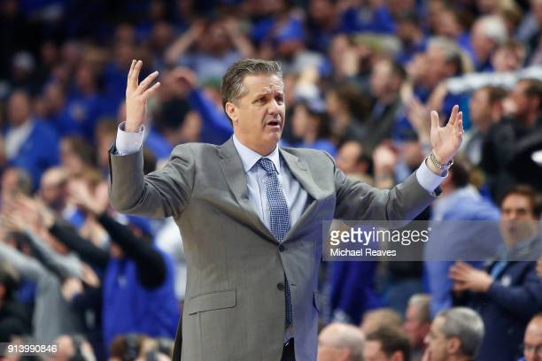 Head coach John Calipari of the Kentucky Wildcats reacts against the Vanderbilt Commodores during the second half at Rupp Arena on January 30 2018 in...
