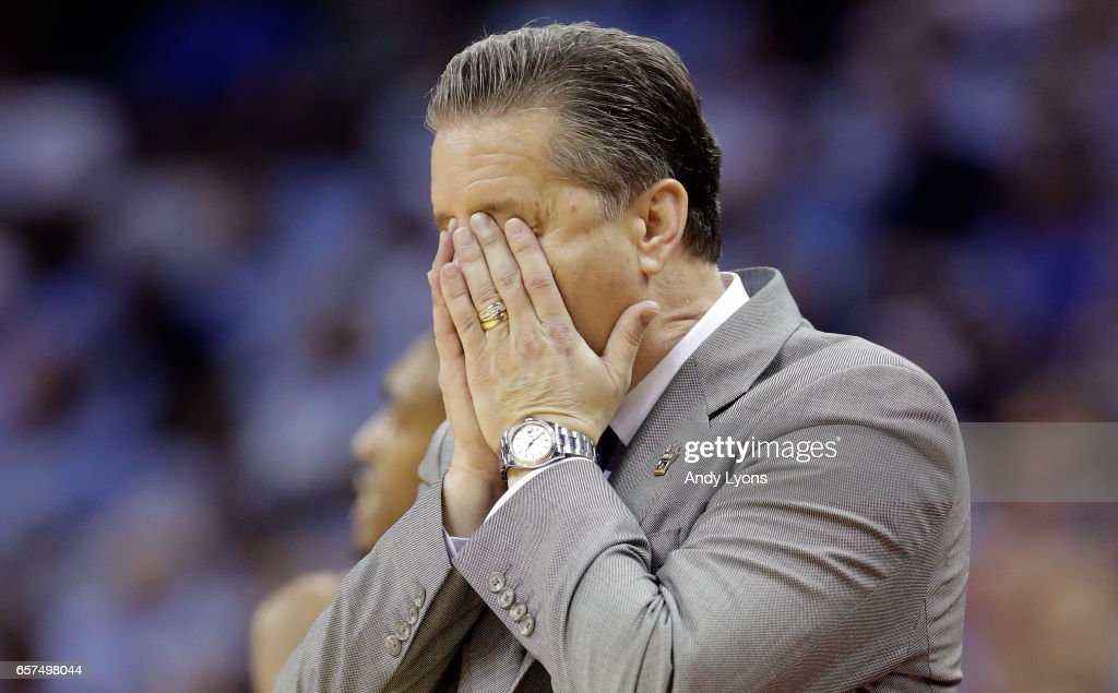 Head coach John Calipari of the Kentucky Wildcats reacts in the first half against the UCLA Bruins during the 2017 NCAA Men's Basketball Tournament South Regional at FedExForum on March 24, 2017 in Memphis, Tennessee.