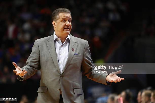 Head coach John Calipari of the Kentucky Wildcats reacts in the first half against the Davidson Wildcats during the first round of the 2018 NCAA...