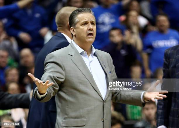 Head coach John Calipari of the Kentucky Wildcats reacts in the first half against the Kansas State Wildcats during the 2018 NCAA Men's Basketball...