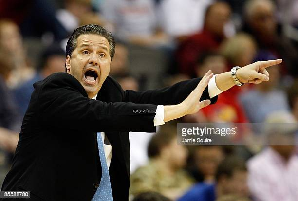 Head Coach John Calipari of the Memphis Tigers yells and points a finger from the sideline during their second round game against the Maryland...