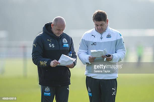 Head Coach John Carver and First Team Coach Steve Stone during a Newcastle United Training session at The Newcastle United Training Centre on March...