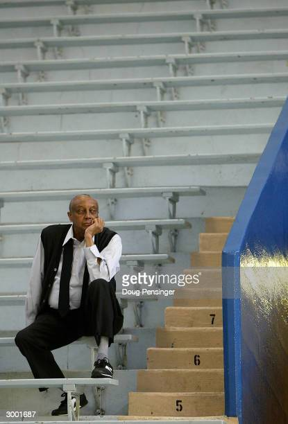 Head coach John Chaney of the Temple University Owls watches from the stands as the players warm up prior to Temple's contest with the Saint Joseph's...