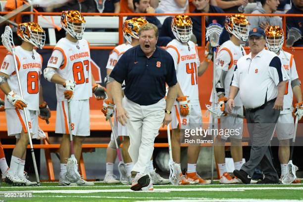 Head Coach John Desko of the Syracuse Orange reacts to a call against the Cornell Big Red during a 2018 NCAA Division I Men's Lacrosse Championship...