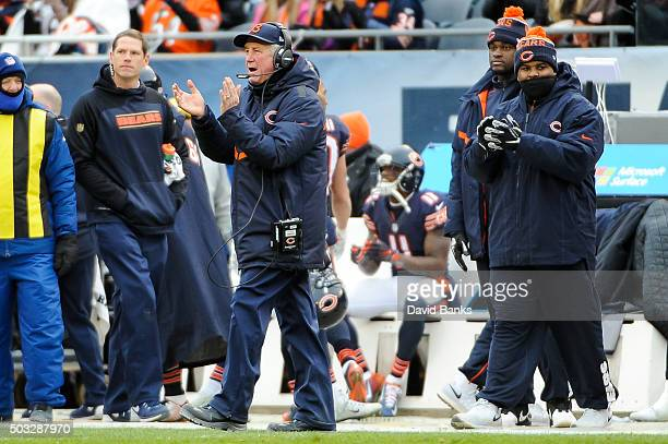 Head coach John Fox of the Chicago Bears instructs the team from the sidelines during the game against the Detroit Lions at Soldier Field on January...